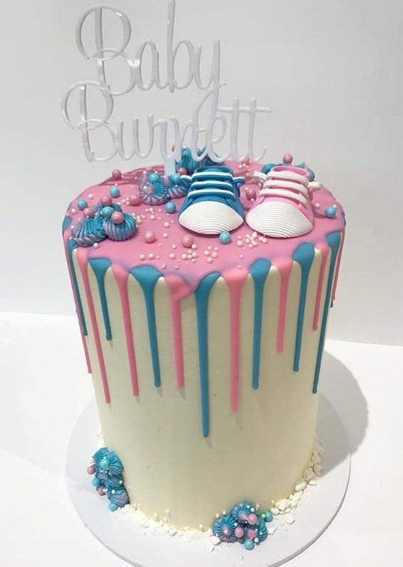 Cake Creations by Kate™ SpecialityCakes Pink and Blue Baby Shoes Double-Height Speciality Cake