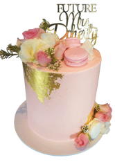 Pink and Gold Buttercream Double-Height Engagement Speciality Cake