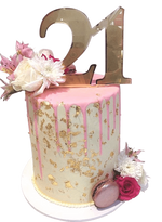 Cake Creations by Kate™ SpecialityCakes Pink and Gold Floral Smooth Buttercream Double Height Speciality Cake