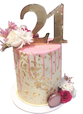 Pink and Gold Floral Smooth Buttercream Double Height Speciality Cake