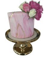 Pink and Gold Marble Fondant Extended Height Speciality Cake