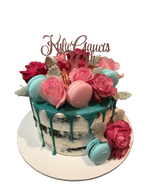 Pink and Teal Semi-Naked Buttercream Floral Speciality Cake