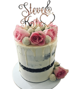 Pink and White Floral Love Heart Buttercream Double Height Speciality Cake