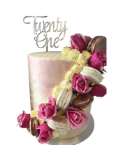 Pink and White Floral Sash Watercolour Double-Height Speciality Cake
