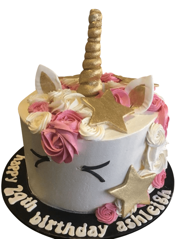 Cake Creations by Kate™ SpecialityCakes Pink and White Unicorn with Gold Stars Speciality Cake