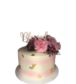 Pink and White Watercolour Buttercream with Gold Flakes Floral Speciality Cake