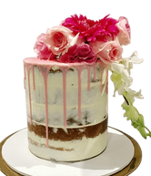 Pink Floral Semi-Naked Buttercream Double Height Speciality Cake