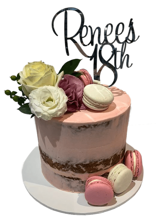 Admirable Pink Floral Semi Naked Buttercream Extended Height Speciality Cake Funny Birthday Cards Online Elaedamsfinfo