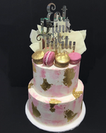 Cake Creations by Kate™ CustomCakes 2-Tier Pink Watercolour with Gold Flakes Custom Cake