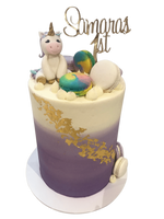 Rainbow Unicorn Purple Ombre Buttercream Double Height Speciality Cake