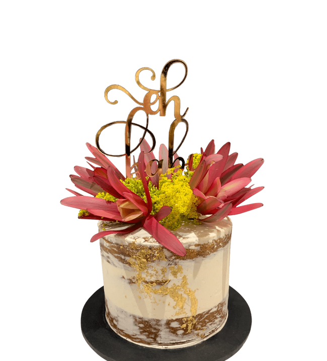 Cake Creations by Kate™ SpecialityCakes Red and Yellow Flowers White Semi-Naked Buttercream Speciality Cake