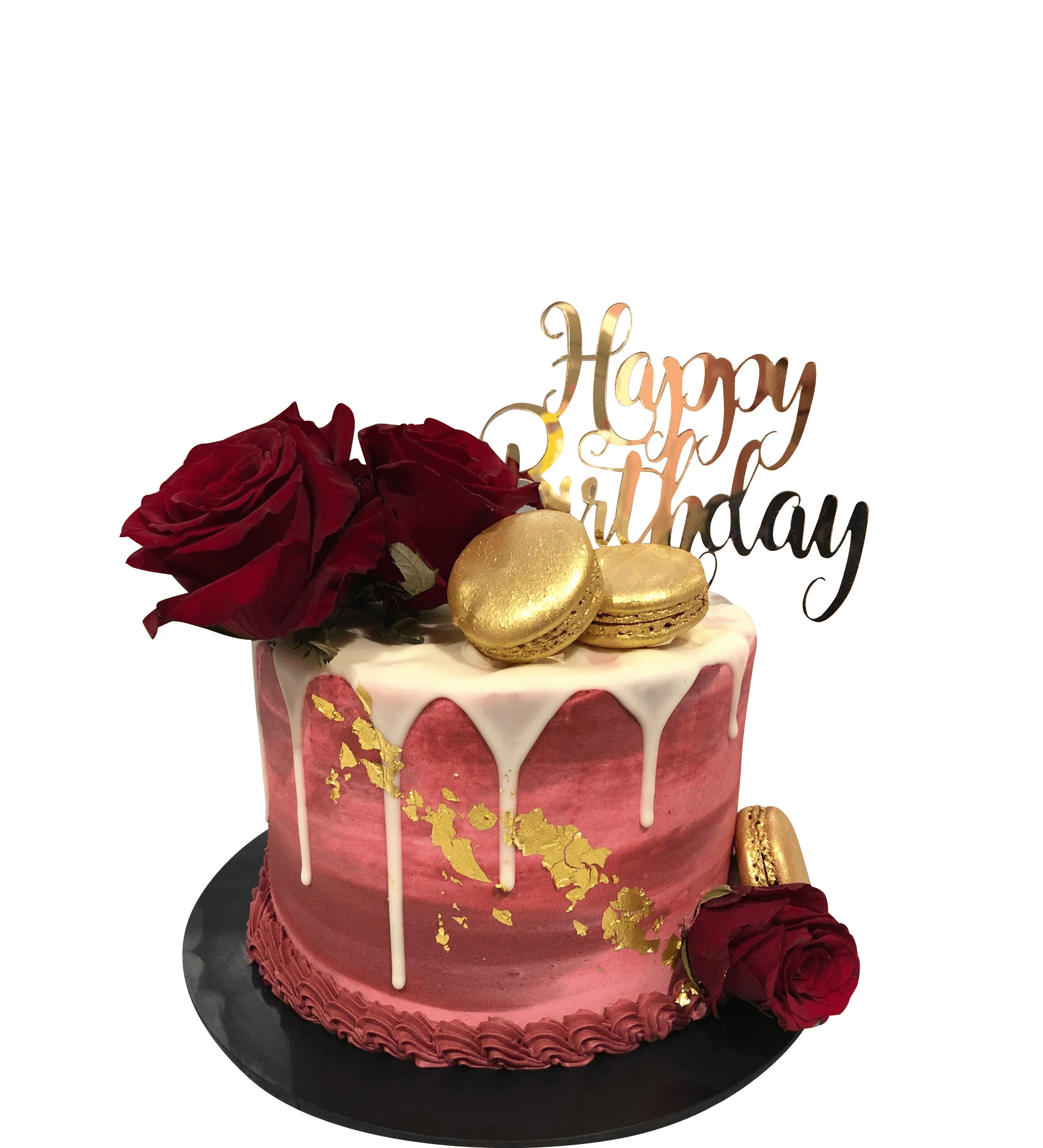 Peachy Red Roses And Gold Macarons Watercolour Buttercream Speciality Personalised Birthday Cards Paralily Jamesorg