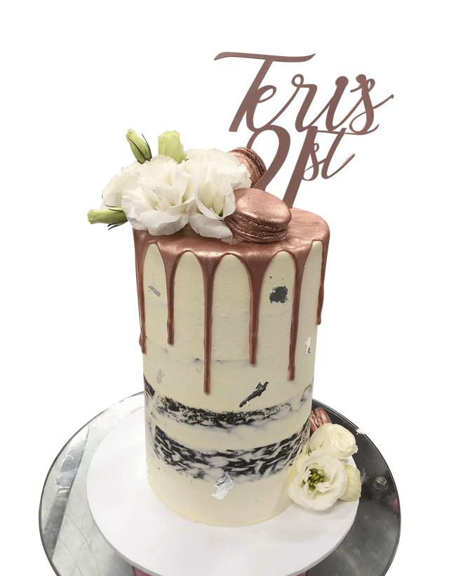 Cake Creations by Kate™ SpecialityCakes Rose Gold Metallic Drip White Semi-Naked Buttercream Double Height Speciality Cake