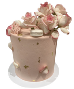 Cake Creations by Kate™ SpecialityCakes Rustic Pink, White and Gold Smooth Buttercream Floral Double Height Speciality Cake