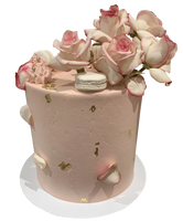 Rustic Pink, White and Gold Smooth Buttercream Floral Double Height Speciality Cake