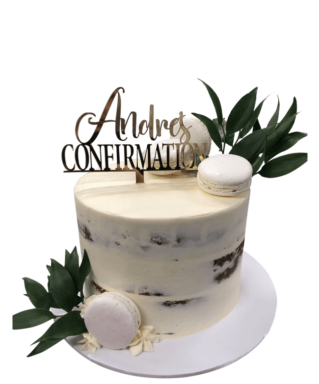 Cake Creations by Kate™ SpecialityCakes Rustic White Confirmation/Baptism Semi-Naked Buttercream Speciality Cake