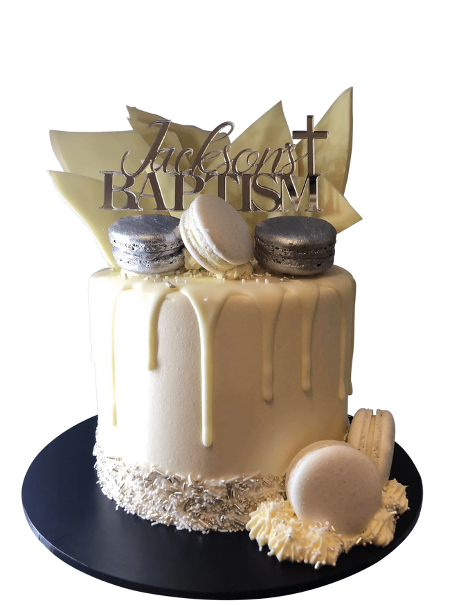 Cake Creations by Kate™ SpecialityCakes Silver and White Baptism Buttercream Speciality Cake