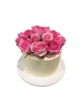 Simple Pink and White Smooth Buttercream Floral Speciality Cake