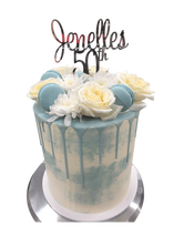 Sky Blue and White Watercolour Buttercream Double Height Speciality Cake