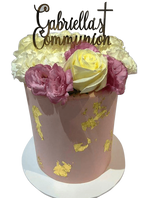 Cake Creations by Kate™ SpecialityCakes Smooth Buttercream w/ Gold Flakes Floral Double-Height Speciality Cake