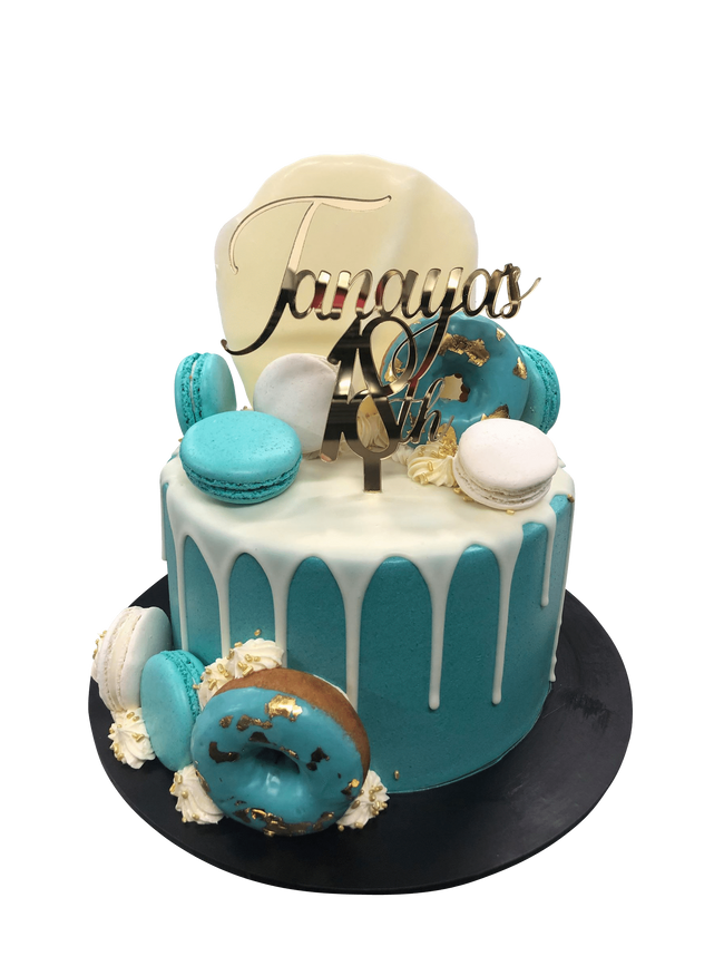 Cake Creations by Kate™ SpecialityCakes Teal Donuts and Macarons Smooth Buttercream Speciality Cake