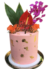 Tropical Theme Floral Double-Height Speciality Cake