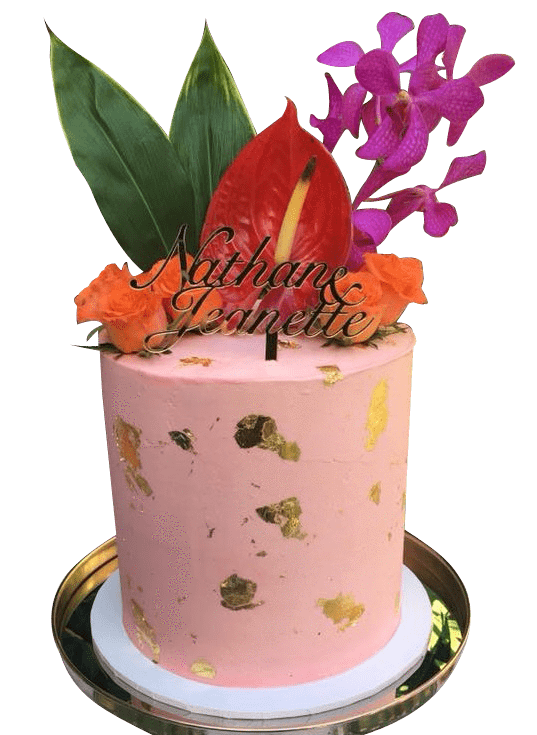 Cake Creations by Kate™ SpecialityCakes Tropical Theme Floral Double-Height Speciality Cake