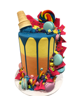 Vibrant Candies and Macarons Ombre Buttercream Double-Height Speciality Cake