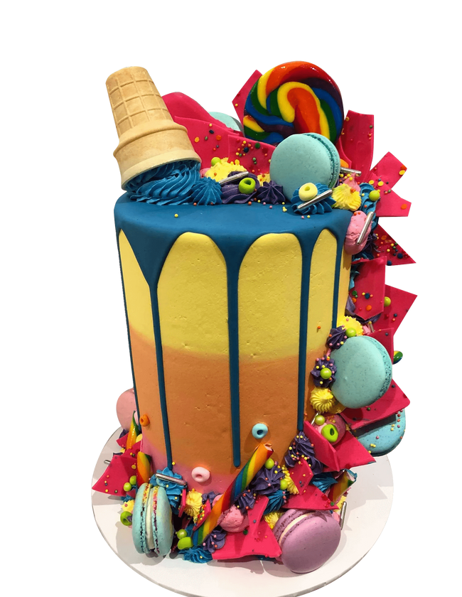 Cake Creations by Kate™ SpecialityCakes Vibrant Candies and Macarons Ombre Buttercream Double-Height Speciality Cake