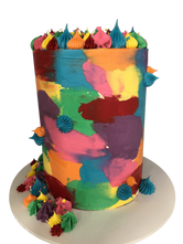 Vibrant Patchy Watercolour Buttercream Double-Height Speciality Cake