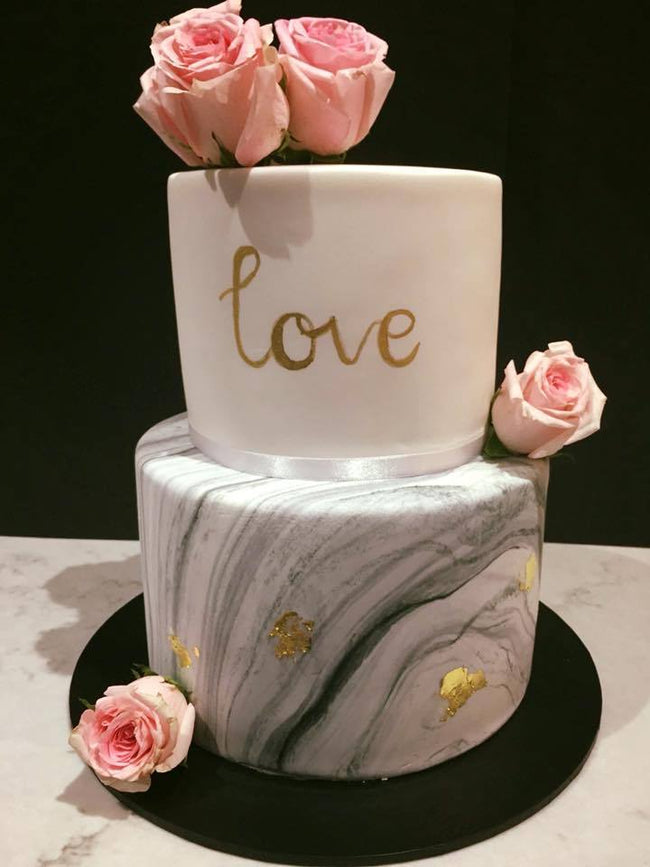 White And Gray Marble Fondant 2-Tier Custom Cake - Customcakes