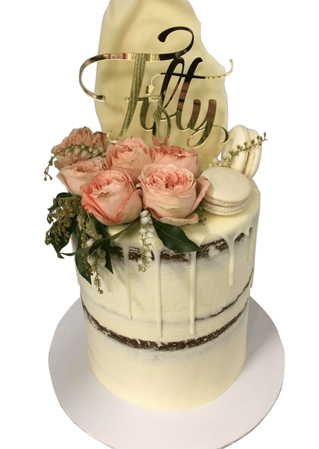 Cake Creations by Kate™ SpecialityCakes White Chocolate Shard Semi-Naked Buttercream Double-Height Speciality Cake
