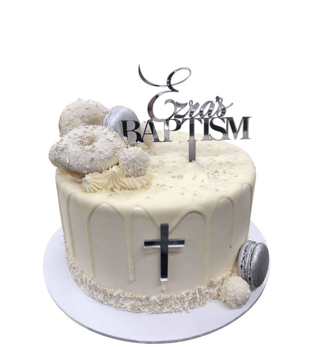 Cake Creations by Kate™ SpecialityCakes White Donuts and Silver Macarons Baptism/Communion Buttercream Speciality Cake
