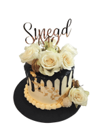 Cake Creations by Kate™ SpecialityCakes White Floral and Gold Flakes Smooth Buttercream Speciality Cake