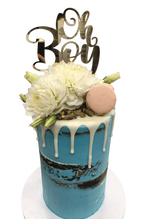 White Flowers and Blue Semi-Naked Buttercream Double-Height Speciality Cake
