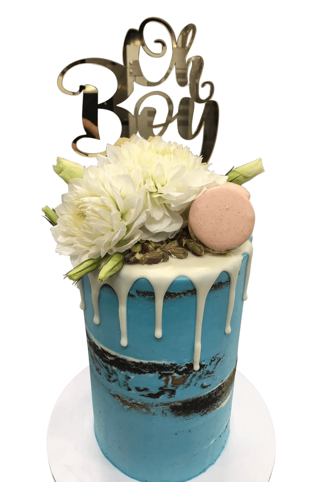 Cake Creations by Kate™ SpecialityCakes White Flowers and Blue Semi-Naked Buttercream Double-Height Speciality Cake