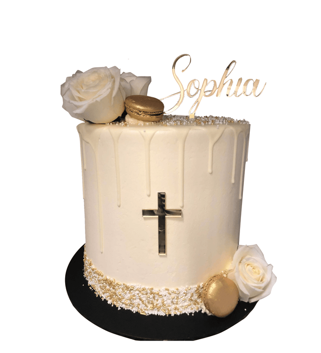 Cake Creations by Kate™ SpecialityCakes White Flowers Gold Macarons Smooth Buttercream Double Height Speciality Cake