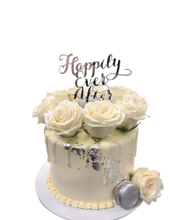 Cake Creations by Kate™ SpecialityCakes White Roses and Silver Flakes Smooth Buttercream Speciality Cake