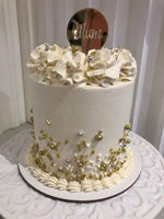 White, silver & gold Mother's Day Cake