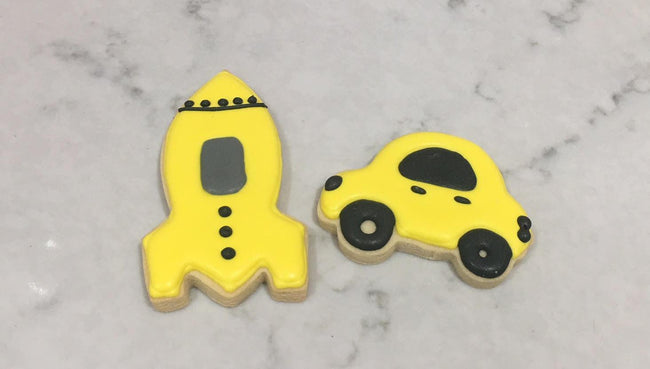 Cake Creations by Kate™ Biscuits Yellow Taxi & Spaceship Vanilla Biscuit