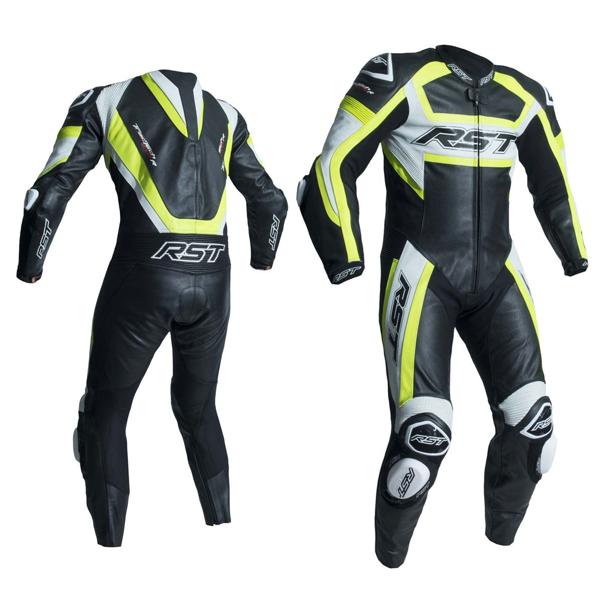 RST Tractech Evo R CE One Piece Leather Suit Black / Fluo Yellow