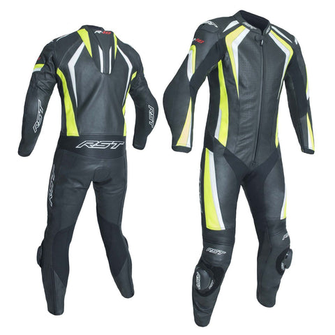 RST R-18 CE One Piece Leather Suit Black / Fluo Yellow