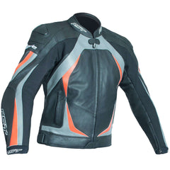 RST Blade II CE Leather Jacket Grey / Fluo Red