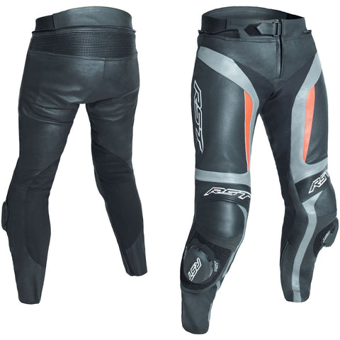 RST Blade II CE Leather Trousers Grey / Flo Red