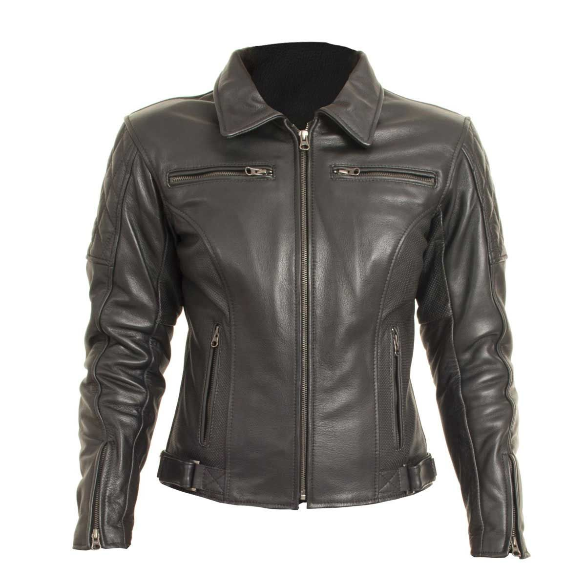 RST Cruz Ladies Leather Motorcycle Jacket Black