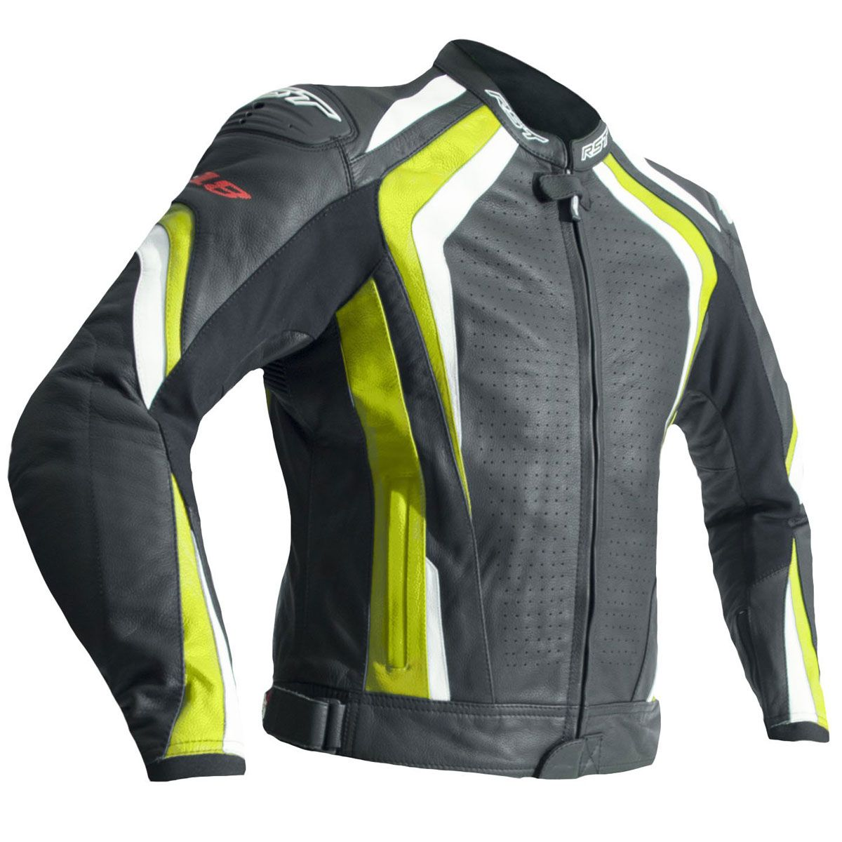 RST R-18 CE Leather Jacket Flo Yellow