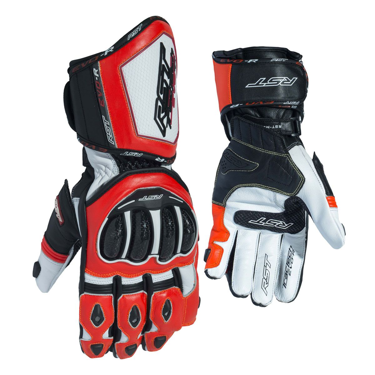 RST Tractech Evo R CE Leather Gloves White / Black / Fluo Red