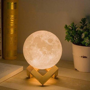 AGM LED Night Light 3D Print Moon Lamp Luna Magic Touch Full Moonlight Portable 2 Colors Change Baby Gift Lights For Home Decor