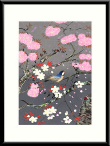 M-022 Bird & Cherry Blossom  Mounted or Framed Print