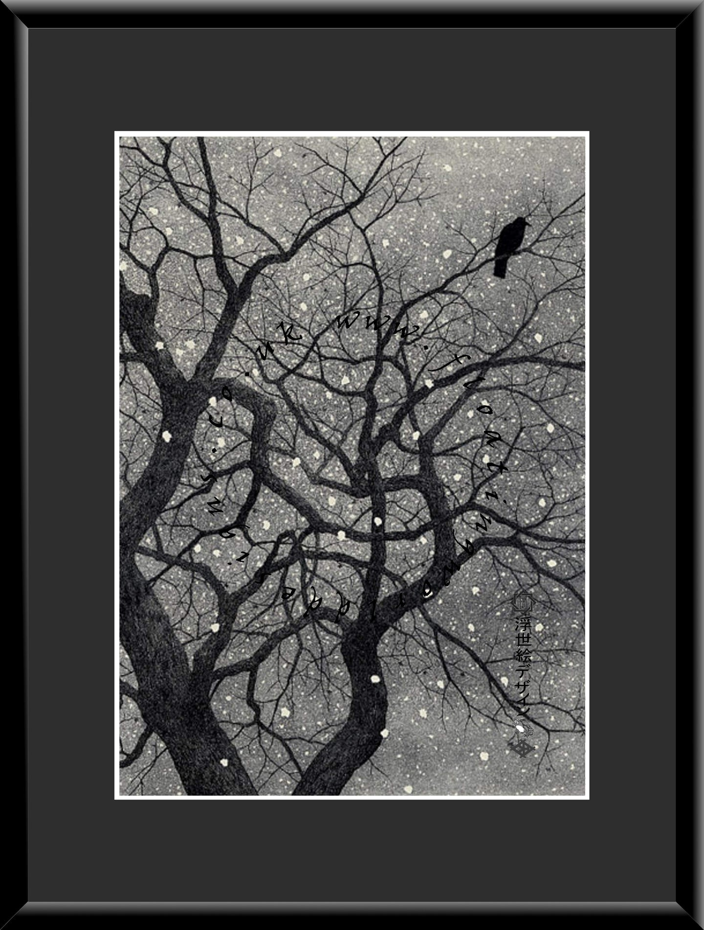 M-038 Crow & Persimmon in the Snow   Mounted or Framed Print